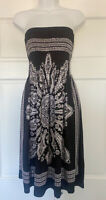 Venus Women Black Smocked Top Boho Casual Dress Large L