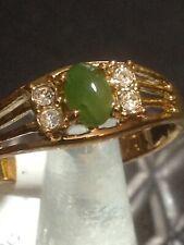 Gold Plated Ring Size 10 Green Genuine Gemstone & Crystals Seta USA