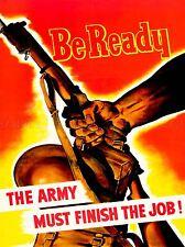 Guerra di propaganda Seconda Guerra Mondiale Stati Uniti saranno pronti ESERCITO finitura job PISTOLA Arte Poster Stampa lv7332