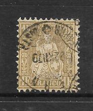 SWITZERLAND 1862-64  1f  GOLD   HELVETIA    FU   SG 60a