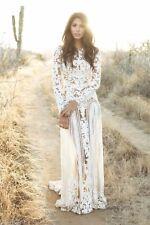 Long Sleeve Lace Wedding Dress Bohemian Bridal Gown Sheer Open Back Custom Sise