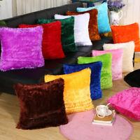 Soft Fur Plush Throw Pillow Case Home Decor Fluffy Sofa Cushion Cover UK
