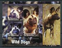 St Vincent & The Grenadines 2015 MNH Wild Dogs 3v M/S II Wild Animals