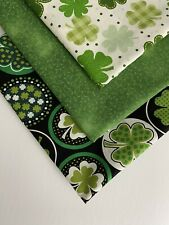 "Bundle Of 3 ST PATRICK'S DAY ""ALL OVER SHAMROCKS"" 100% Cotton Fabric Quarters"