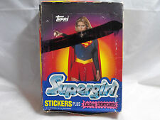 SUPERGIRL 1984 TRADING CARDS AND STICKERS, COMPLETE BOX OF 36 UNOPENED PACKS.