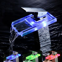 Chrome LED Glass Spout Bathroom Basin Faucet Vanity Sink Mixer Tap Deck Mounted