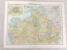 1898 Map of France Northern Region North Paris Bartholomew Antique Original