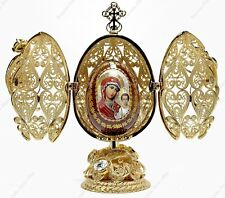 """5.7"""" EASTER GOLD EGG ICON RELIGIOUS ST-PETERSBURG RUSSIAN TRADITIONS OF FABERGE"""
