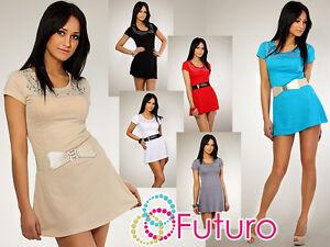 Damen Sexy Minikleid mit Pailletten Party Trikot Rundhals Größe 8-12 8011