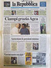LA REPUBBLICA 14 GIUGNO 2000 - CIAMPI GRAZIA ALI AGCA ATTENTATORE PAPA WOJTYLA