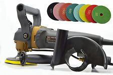 "RECONDITIONED 240v Variable Speed Wet Stone Polisher INCS NEW 4"" 8pc pad set"