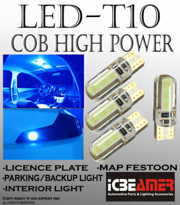 2 pair T10 COB LED Ice Blue Silicon Protected Direct Plugin Map Light Lamps A496