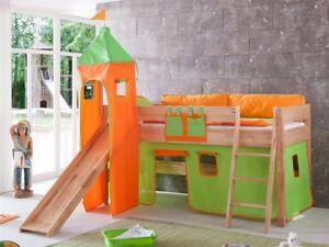 Vorhang mit Turmzelt Stoff für Hochbett Spielbett Kinderbett grün orange Klett