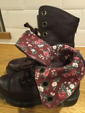 Doc Martens Aimilie 9hole Floral/brown Leather Ladies Boots Uk5/38 Excellent Con