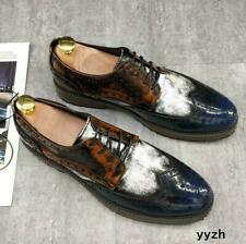 Retro Business Men Faux Leather Brogue Shoes Lace Up Carved Wedding Dress Shoe D