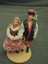 "5.5"" Polish Couple 2 Vintage Handmade LALKI REGIONALNE PARA KRAKOWSKA"