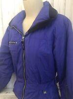 Nils Skiwear Womens Ski Snowboard Coat Jacket Size 6 Purple Black Trim Pockets