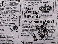 Alice in Wonderland, ivory, 1/2 yard, pure cotton fabric