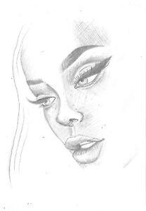 original drawing 15 x 21 cm 51BrP art sketch Graphite modern female portrait
