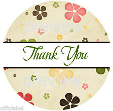 Flower Power Design 113 Thank You Sticker Labels Laser Printed