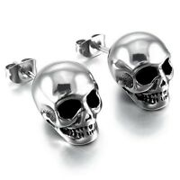 New Men's Polished Gothic Skull Biker Punk Silber Stainless Steel Stud Earrings