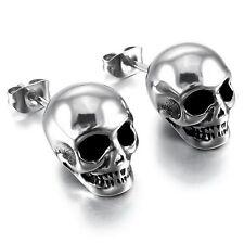 Skull Gothic Biker Silver Tone Men's 316L Stainless Steel Stud Earrings