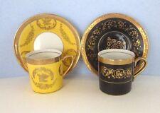 Black & yellow gold leaf trim demitasse cups & saucers (2) Arnart 5th Avenue
