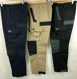 "Tradie Men Heavy Duty Cotton Drill Canvas Cargo Work Pants, 4 Color Size 30""-46"""
