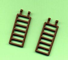 Lego--6020 --Zaun--Leiter-- Treppe-- 7 x 3--Mit 2 Clips--Braun/OldBrown--2 Stück
