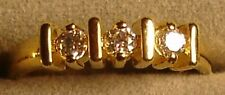 12 Ladies' 18KT. Gold Overlay 3 CZ Rings in Sizes 6 to 10