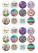 24 Bonne Chance Gaufrette/Topper Cupcake Papier De Riz