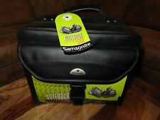 Samsonite Notebook System Laptop Brief Case - Black Leather With Strap NEW NOS