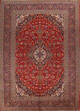 One-of-a-Kind Vintage Traditional Hand-Knotted 10'x14' Red Wool Area Rug