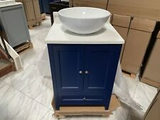 "New Listing24"" Samana Single Vessel Sink Bathroom Vanity Navy Blue Calacatta Quartz Top"