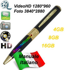 SPY PEN GOLD HD PENNA SPIA MICROSPIA VIDEOCAMERA FOTOCAMERA NASCOSTA 1280 X 960