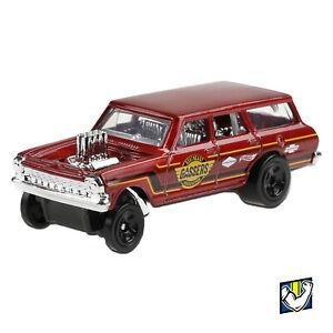 Red Hot Wheels Chevy 64 Nova Wagon Gasser Kid Model Diecast Toy Car Muscle Mania