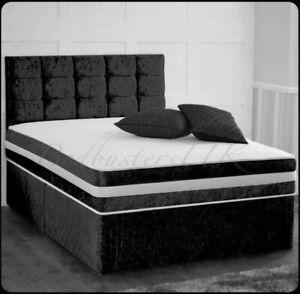 CRUSHED VELVET DIVAN BASE WITH UNDER BED STORAGE -HEADBOARD DOUBLE 4FT6 5FT 6FT.