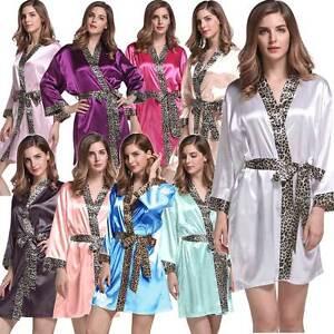 Bridesmaid Robes Wedding Kimono Bridal Leopard Trim Satin Bath Spa Size 8 - 16