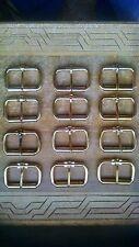 Lot of 12 steel belt buckles 1 X 2 Leather craft Brass finish dozen bulk