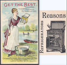 Antique Ice Box 1800's  Leonard Refrigerator Grand Rapids Advertising Trade Card