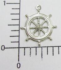 Ship's Wheel Charm Jewelry Finding 46514 4 Pc Matte Silver Oxidized