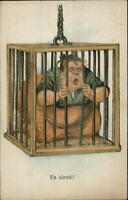 Anti Woman Misogyny Obese Fat Woman in Cage Chained to Ceiling Postcard G19