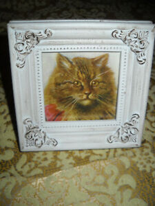 CAT 4 1/4X 4 1/4 tiny standing wood frame animal picture Victorian style print