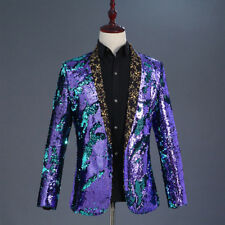 Men Reversible Two Tone Glitter Sequins Cardigan Jacket Suit Stage Costume Coat