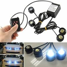 4 pcs Xenon White LED Eagle Eye Knight Night Rider Scanner Lighting DRL+ Remote