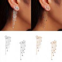 Shooting Crystal Bling Star Rhinestone Long Tassels Drop Hook Dangle Earrings LK