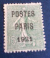 Paréos N° 28  15 C Vert Paris 1921 Oblitère TB  Choix Côté 200€