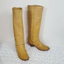Frye Womens Tall Heel Boots Tan Leather Cuff Pull On Riding Casual Career 5  5.5
