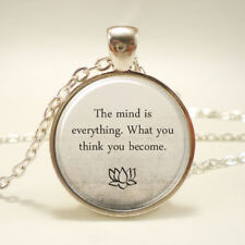 BUDDHA QUOTES WORDS crystal pendant SILVER necklace man woman FREE $20 GIFT 4U