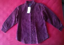 DENIM & Co. Women's 100% SUEDE LEATHER Jacket Shirt Red Wine/Burgundy Size M NEW